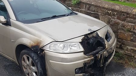 The main car fire in Newport spread to another, also causing damage. Picture: North Devon News