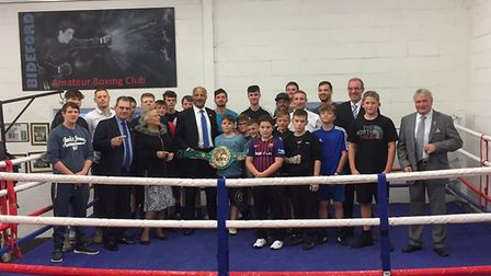 John Conteh MBE and Johnny Oliver at Bideford Boxing Club's gym.