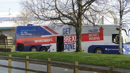 The Conservative 'Get Brexit Done' battle bus parked outside Chulmleigh Community College during the