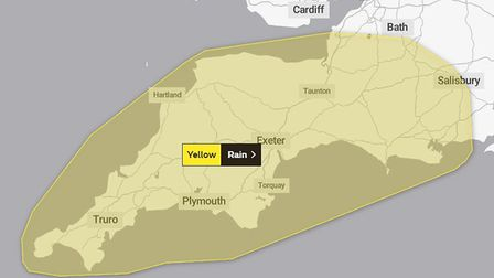 A yellow warning is in place for Friday and Saturday. Picture: The Met Office