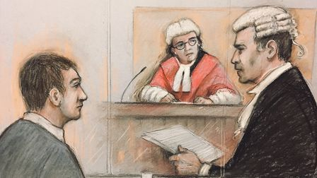 Court artist sketch by Elizabeth Cook of Alexander Lewis-Ranwell (left) listening to barrister Richa