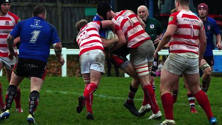 Bideford flanker Will Copp makes his presence felt with a big hit. Picture: Kevin Crowl