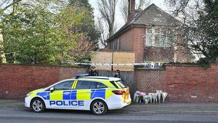 The scene outside 109 Cowick Lane, Exeter, where the bodies of twins Dick and Roger Carter, aged 84