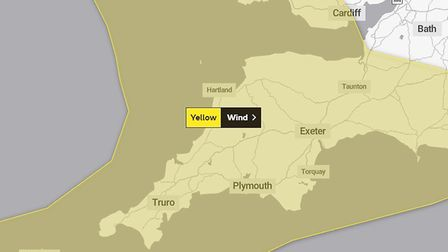 A yellow warning is in place for the South West. Picture: Met Office