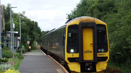 One of the new Class 158 trains on the Tarka Line at Copplestone. Picture: Andy Hedges