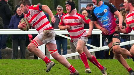 Forward Tom Evans goes on a storming run for Bideford against Penryn. Picture: Kevin Crowl