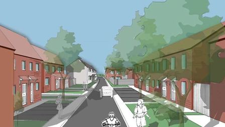 An artists' impression of how a street in the Tawcroft development may look.