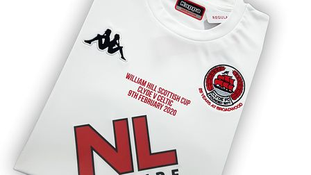 The shirt Clyde will wear against Celtic in the William Hill Scottish Cup clash.