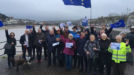 Devon for Europe members gather at Bideford Quay on Brexit Day. Picture: Devon for Europe