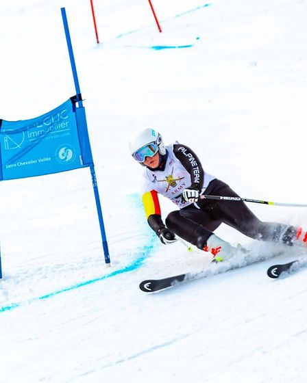 Holly Lake in action in the giant slalom at Chantemerle. Picture: Black Lance Photography