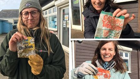 All of these crisp packets are older than the people holding them. Pictures: Plastic Free North Devo