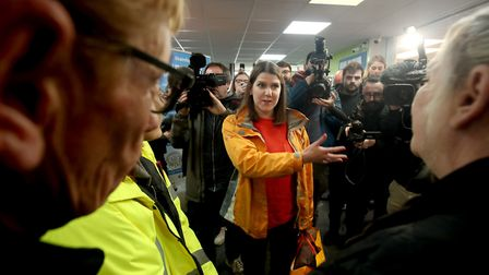 Liberal Democrats leader Jo Swinson with campaigner. Photograph: Aaron Chown/PA Wire.