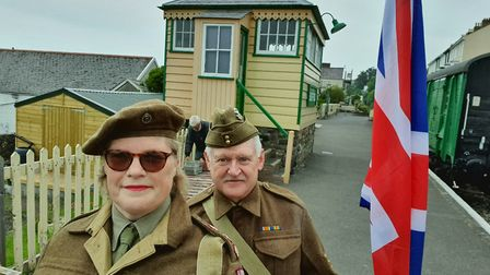 Tina and Clive Best in period 1940s costume at Bideford Station.Picture: Tina/Clive Best