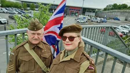 Tina and Clive Best in 1940s uniform outside Bideford Tesco. Picture: Tina/Clive Best