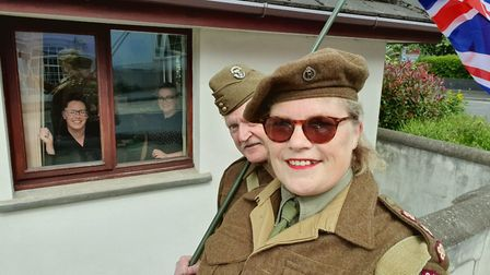 Tina and Clive Best in 1940s uniform outside Wooda Surgery in Bideford to mark the 75th anniversary