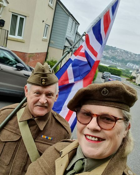 Tina and Clive Best in Bideford, he in Home Guard uniforrm and she in QAIMNS (Queen Alexander Imperi