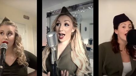 Meg Scoins, Tamsin Ball and Taya Lambden sing Boogie Woogie Bugle Boy to mark the 75th anniversary o