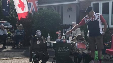 A street party observing the social distancing rules at Grove Close in Bideford to mark the 75th ann