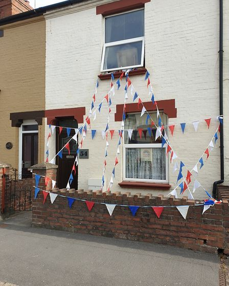 Rolle Street in Barnstaple with its VE Day 75th anniversary bunting. Picture: Anthony Hillier