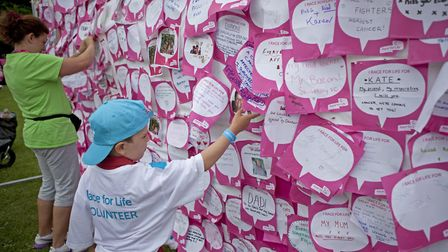 Personal messages posted on the Race for Life board. Picture: Rebekah Taylor