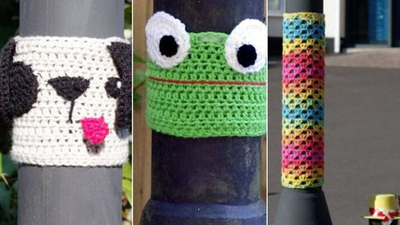 Crochet decorations have been placed around the lampposts leading up to Park Lane Nursing Home in Ba