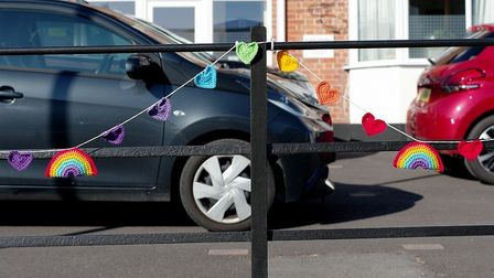 Crochet decorations placed at Park Lane in Barnstaple during the coronavirus crisis. Picture: Simon