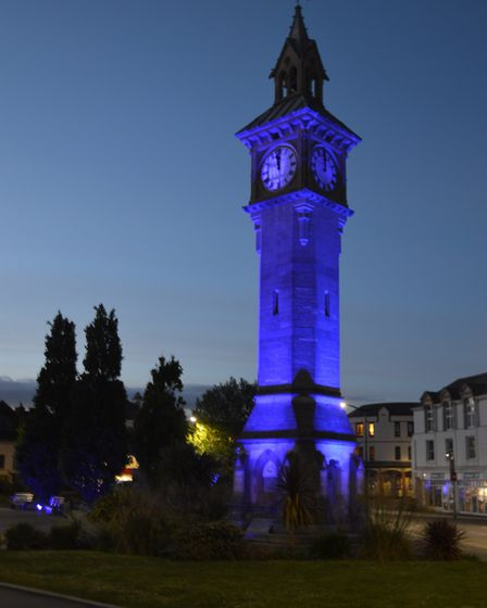 The Albert Clock is lit up in Barnstaple to Turn it Blue for the NHS. Picture: Barnstaple Town Counc