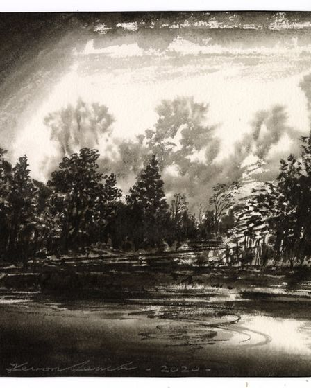 Backwater by Keiron Leach, ink wash on paper. Picture: Keiron Leach