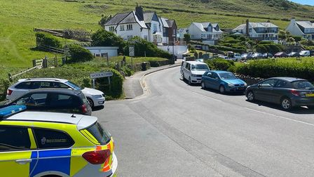 Cars parked along the Esplanade at Woolacombe all the way up to Mortehoe after the influx of visitor