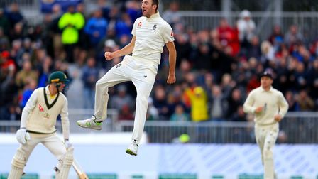 England's Craig Overton celebrates taking the wicket of Australia's Marnus Labuschagne during day on