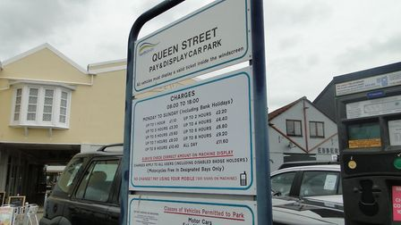Parking charges in Queen Street car park, Barnstaple.