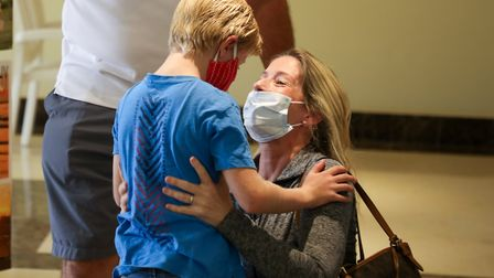 Mum Jessica is reunited with her son Archie Appleyard, aged seven, after 52 days apart and thanks to