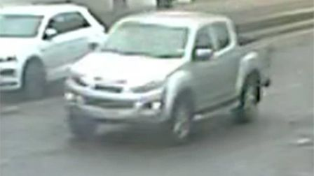Police are attempting to locate the driver of this pick-up truck which was involved in a collision i