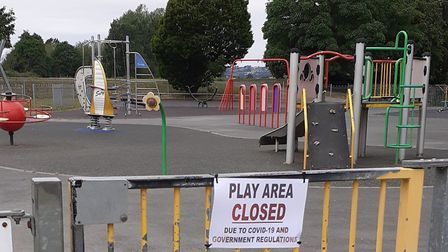 The play area in Rock Park is closed while Covid-19 restrictions are in force. Picture: BTC