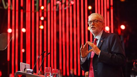 Labour Party leader Jeremy Corbyn speaks to supporters. Photograph: Jacob King/PA.