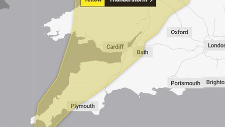 The Met Office has issued a yellow warning for thunderstorms and rain over Devon and Cornwall on Tue
