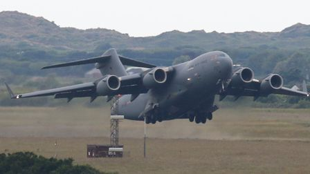 The RAF C17 Globemaster taking off from RMB Chivenor. Picture: Andrew Rayner