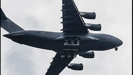 The C17 pictured over Barnstaple. Picture: Phil Sobey