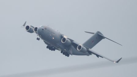 The RAF C17 transport plane pictured above Chaddiford Lane, Barnstaple. Picture: Cathy Edwards