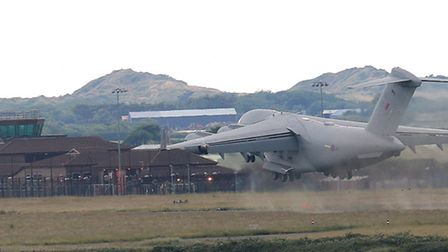 The RAF C17 Globemaster aircraft practicing 'touch and go' landings at RMB Chivenor. Picture: Andrew
