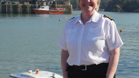 Ilfracombe harbourmaster Georgina Carlo-Paat at the launch of the WasteShark at Ilfracombe Harbour.