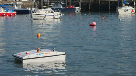 The WasteShark makes its own way around Ilfracombe Harbour. Picture: Nick Kindon / WWF-UK