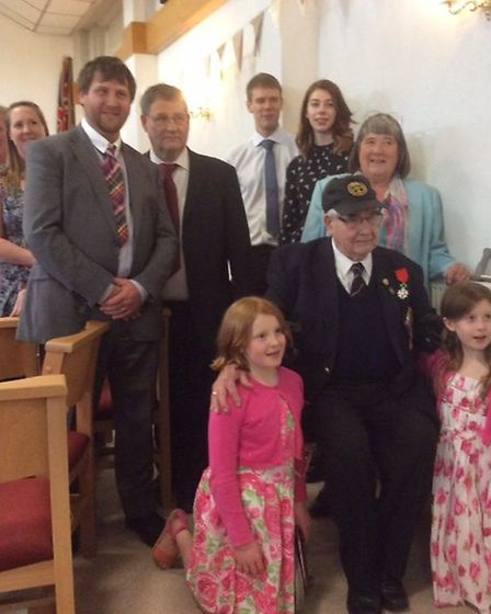 D-Day veteran Len Husband with his two children, four of his five grandchildren and two of his five