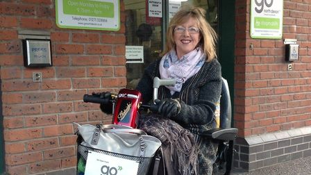 North Devon Shopmobility member Wendy Cotton outside the centre in Barnstaple. Picture: Go North Dev
