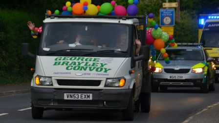 The drive by of hundreds of vehicles of all types in Barnstaple to help George Brayley, aged five, c