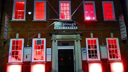 The Plough Arts Centre lit up for the Light it Red for the Arts event earlier in July. Picture: Plou
