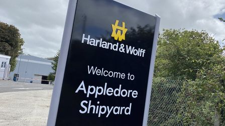 New signage outside Appledore Shipyard, which will be renamed H&W Appledore. Picture: Matt Smart