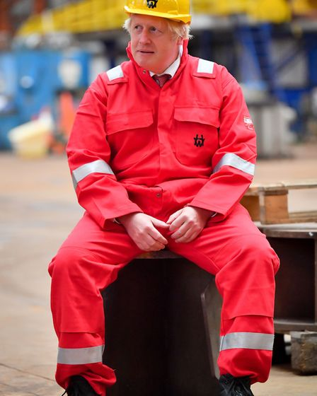 Prime Minister Boris Johnson during his visit to Appledore Shipyard. Picture: Ben Birchall/PA Wire