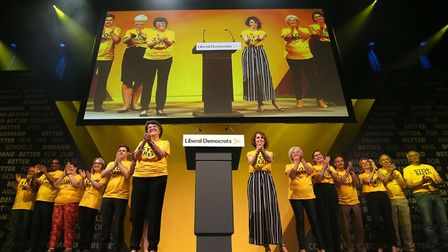 Lib Dem MEP's on stage during the Liberal Democrats autumn conference at the Bournemouth Internation