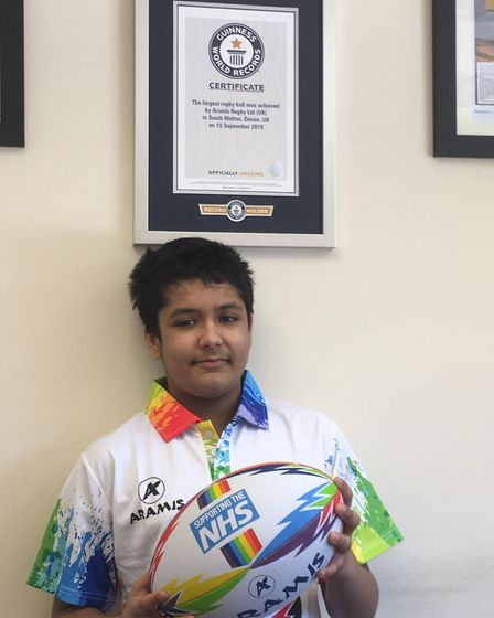 Ryan Mahajan, aged 10, has been named a Lockdown Legend after coming up with the idea of his family's company Aramis Rugby pr...